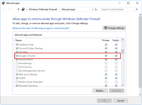 Enable Chrome in Windows Defender