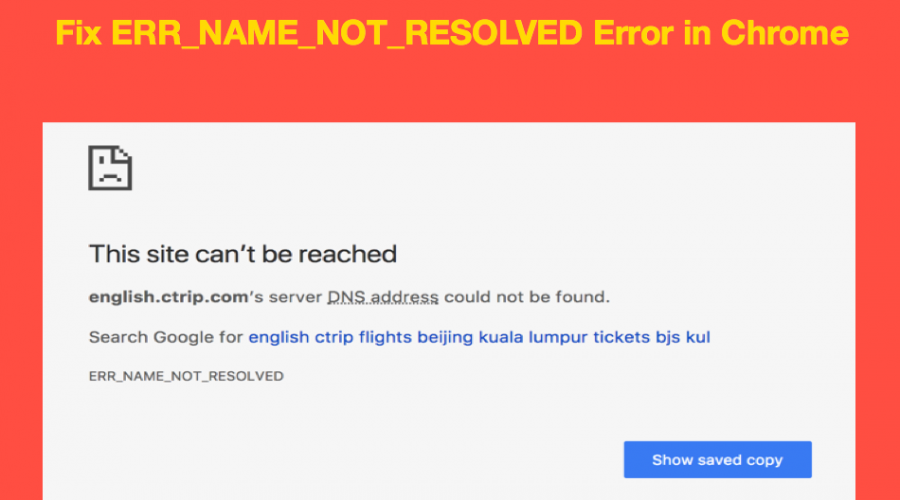 Fix ERR_NAME_NOT_RESOLVED Error in Chrome