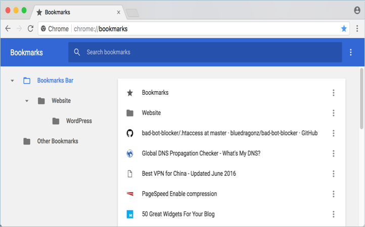 Material Design Bookmarks View in Chrome