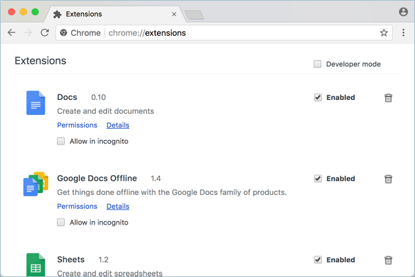 Normal Chrome Extensions View