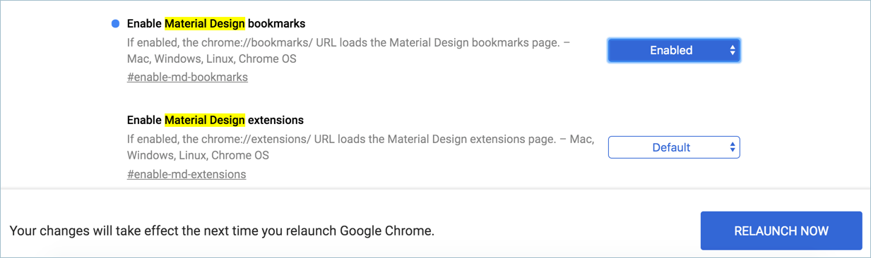 Relaunch Chrome with Material Design Enabled
