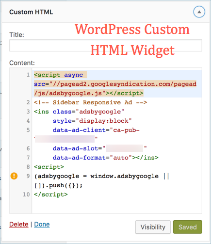 WordPress Custom HTML Widget