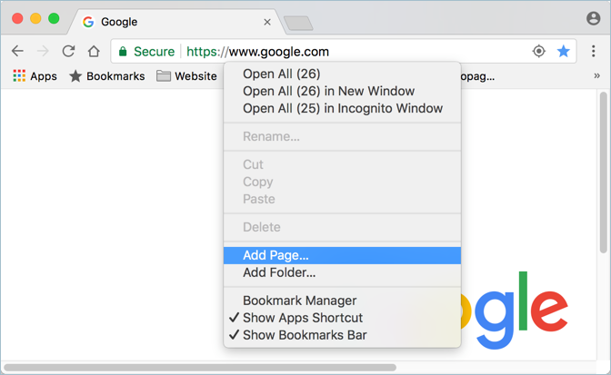 Add Page Using Chrome Bookmarks Bar