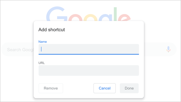 Add Website Shortcut in Chrome New Tab Page