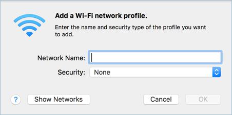 Добавить профиль сети Wi-Fi