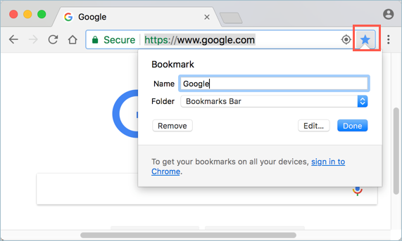 Adding Bookmark from Chrome Address Bar