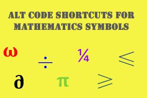 Alt Code Shortcuts for Mathematics Symbols
