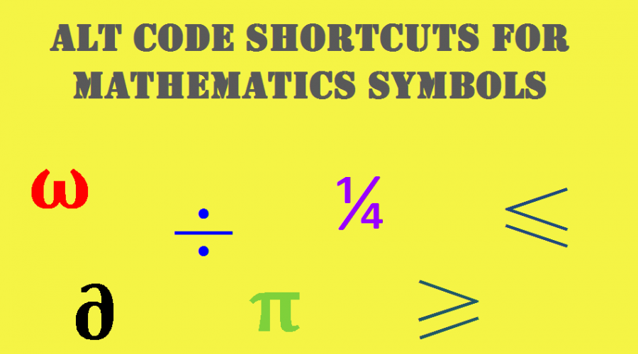 Alt Code Shortcuts for Mathematical Symbols