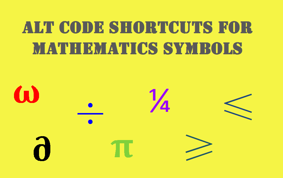 Alt Code Shortcuts For Mathematical Symbols Webnots