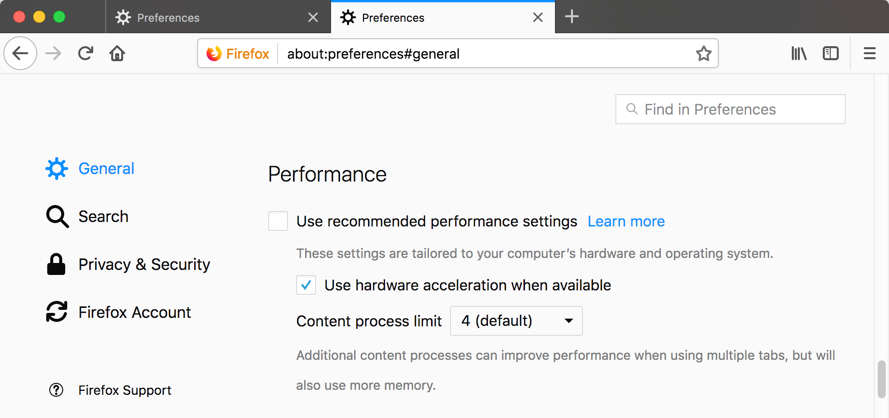 Change Recommended Performance Settings