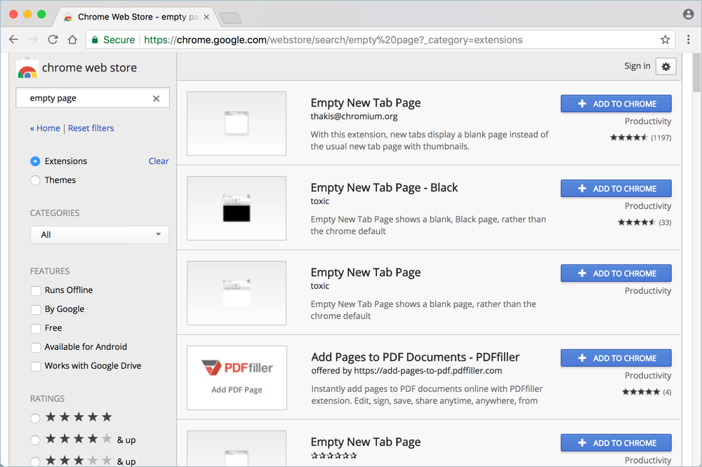 Chrome Blank New Tab Extensions