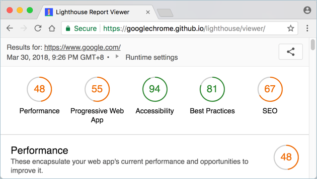 Viewing Chrome Lighthouse Report