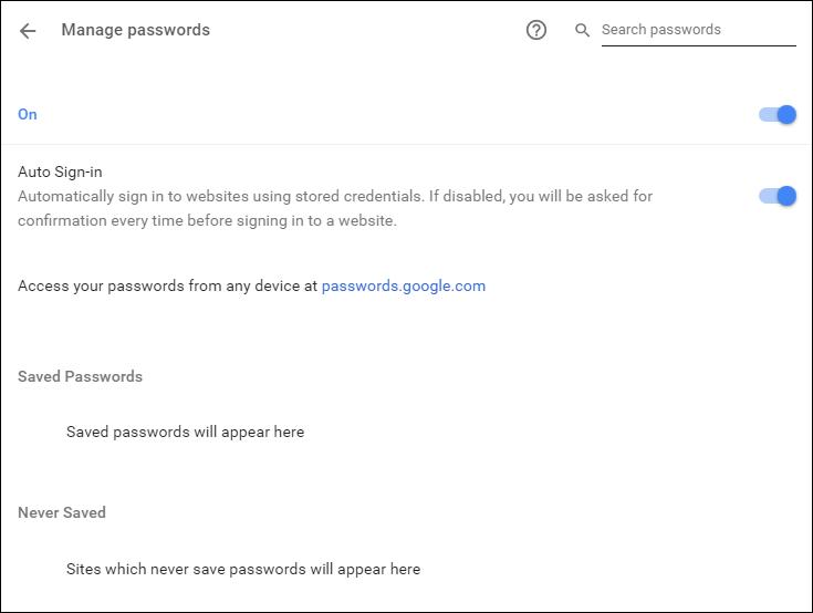 Диспетчер паролей Chrome
