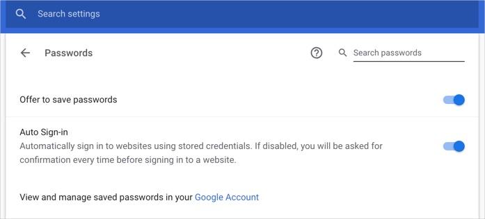Раздел паролей Chrome