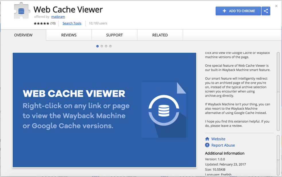 Chrome Web Cache Viewer Extension