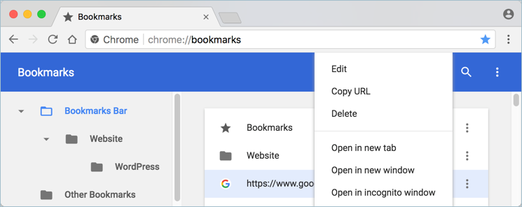 Delete Bookmark from Bookmark Manager