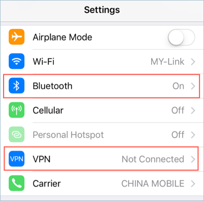 Disable Bluetooth and VPN in iOS