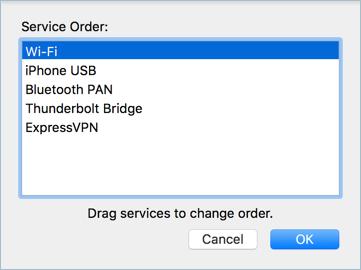 Drag to Rearrange Network Order