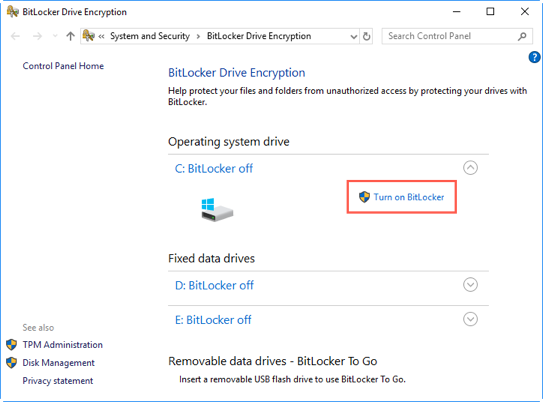 Enable BitLocker in Windows 10