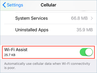 Enable Wi-Fi Assist in iOS