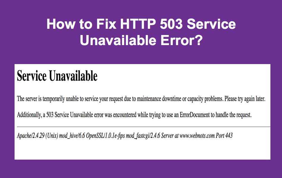 How to Fix HTTP Error 503 Service Unavailable?