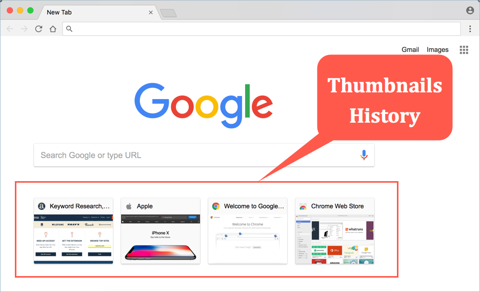 Google Chrome Thumbnails History on New Tab Page