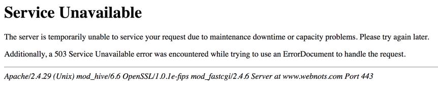 HTTP 503 Service Unavailable Error