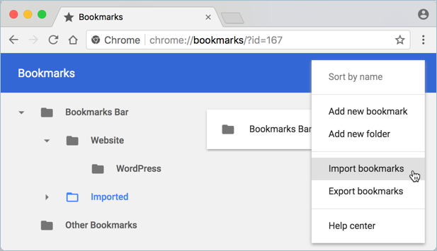 Import Bookmarks in Chrome