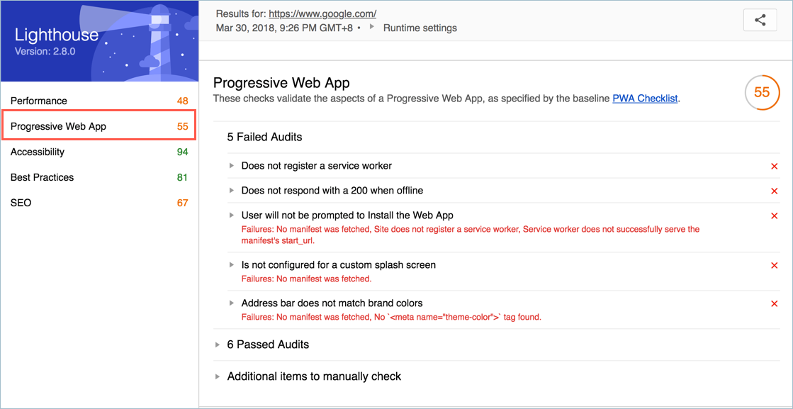 Lighthouse Progressive Web App Report