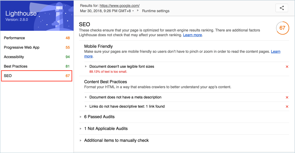 Lighthouse SEO Audit Report