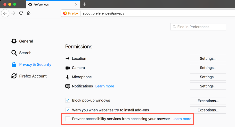Prevent Accessibility Service in Firefox