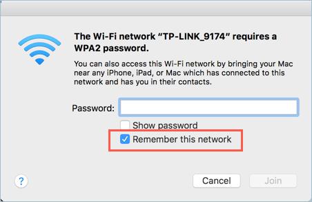 Запоминание сети Wi-Fi на Mac