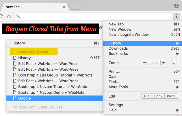 Reopen Closed Tabs from Chrome Settings Menu