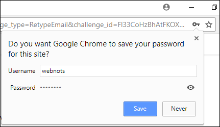 Save Password Prompt in Chrome