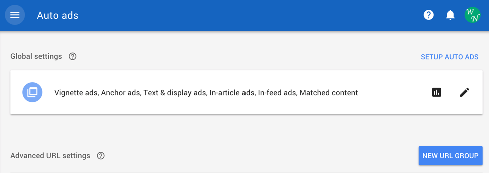 Setting Up New URL Group in Auto Ads