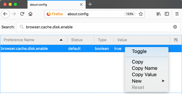 Toggle Browser Cache Preference Value in Firefox