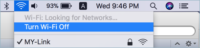 Отключите Wi-Fi на Mac