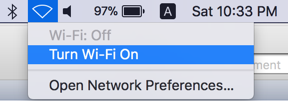 Turn Wi-Fi On in Mac
