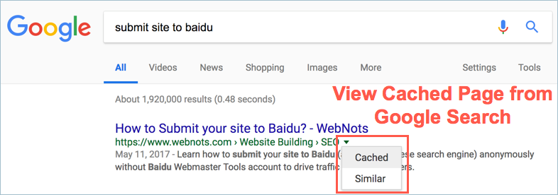 View Cached Page from Google Search