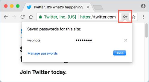 Просмотр сохраненных паролей с помощью значка ключа в адресной строке
