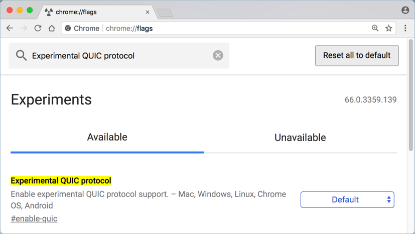 Disable QUIC Protocol in Chrome