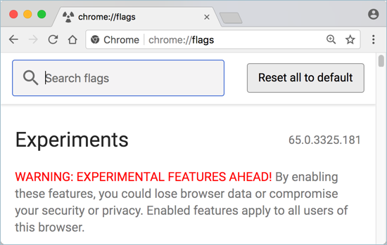 Experimental Features in Chrome