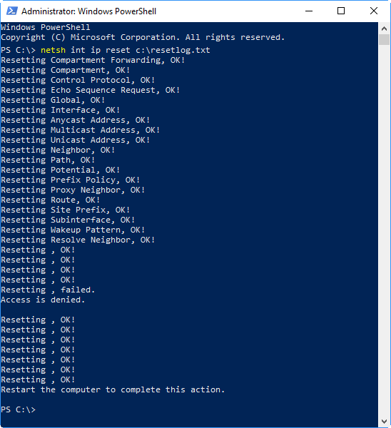 Resetting Network in Windows PowerShell