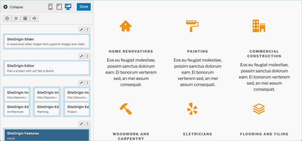 SiteOrigin Page Builder Live Editor
