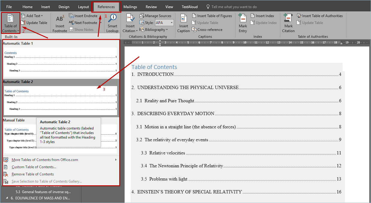Adding Table of Contents Automatically with Built-in Styles