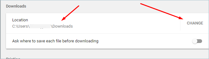 Change Downloads Location in Chrome