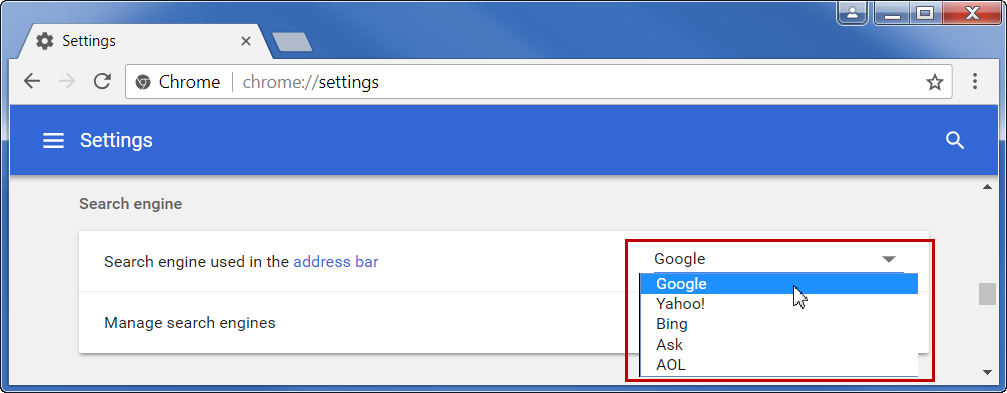 Changing Default Search Engine in Chrome