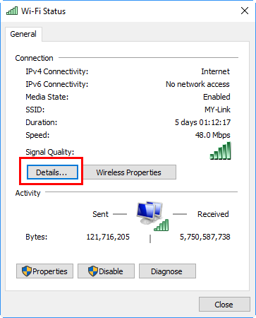 Check Network Status Details