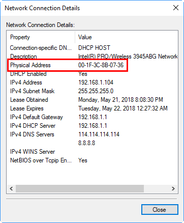 Check Physical or MAC Address