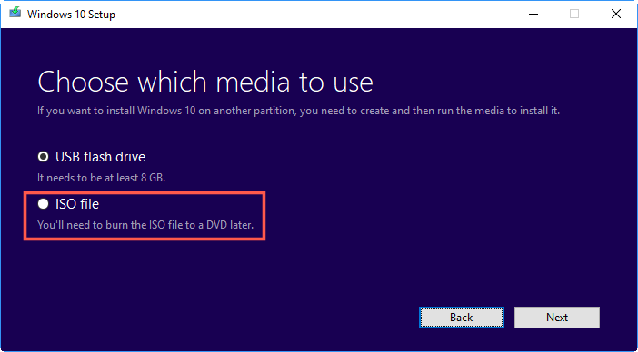 Choose ISO File Option